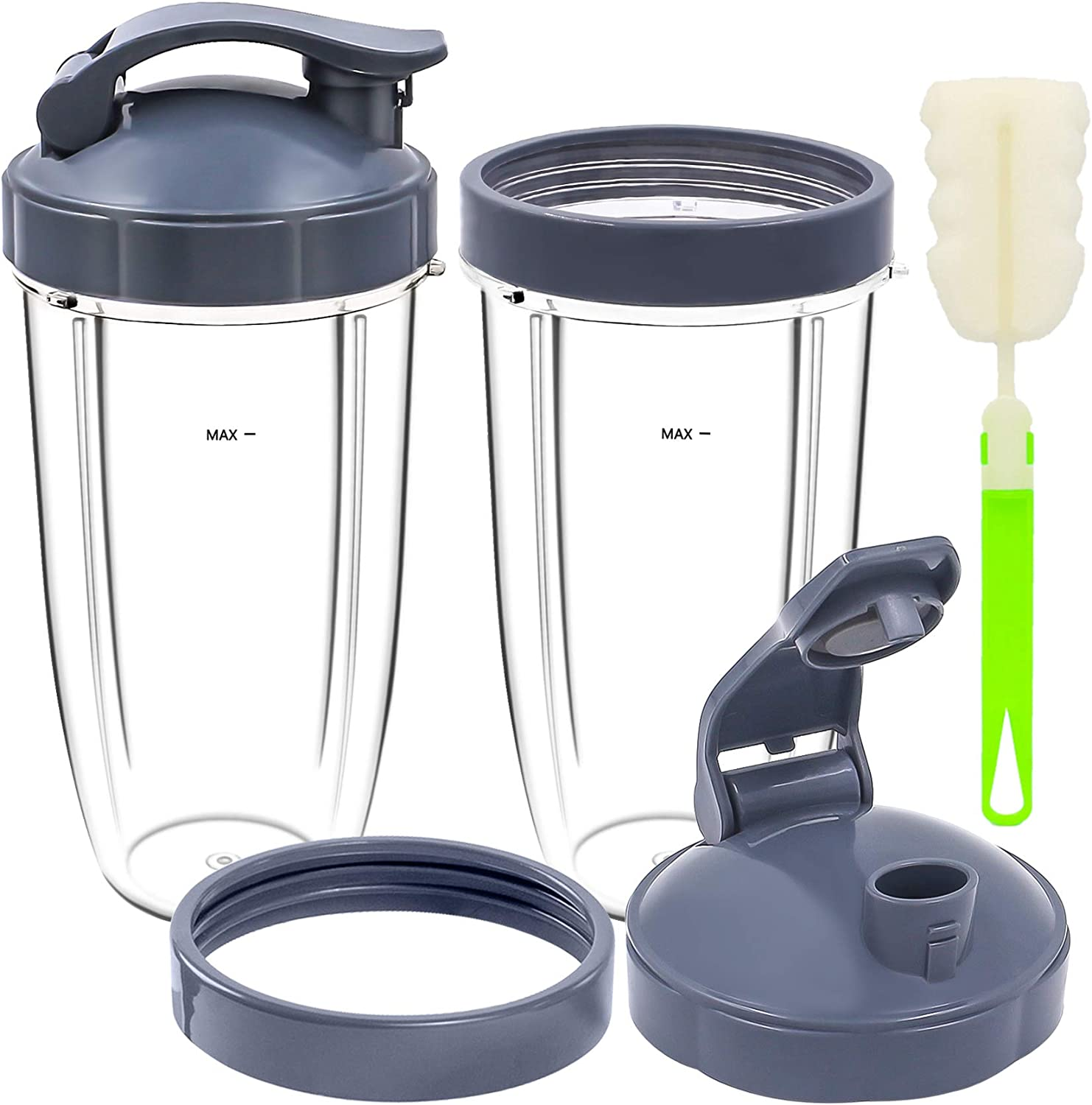 Tanzfrosch 2 Pack Replacement Parts 32oz Cups with Flip Top Lids & Lip Rings Compatible with Nutribullet 600W/900W Blender Models