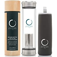 Pure Zen Tea Tumbler with Infuser - BPA Free Double Wall Glass Travel Tea Mug with Stainless Steel Filter - Leakproof…