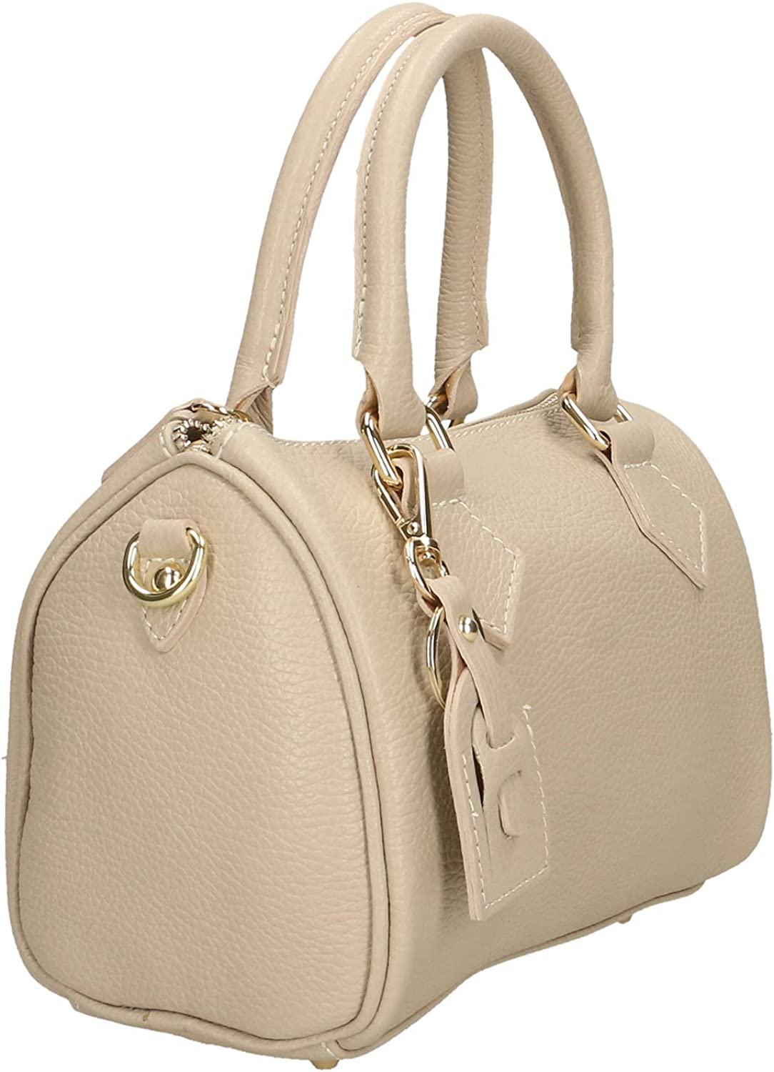 Chicca Borse Borsa a Mano Donna in Pelle Made in Italy 22x15x13 Cm Beige