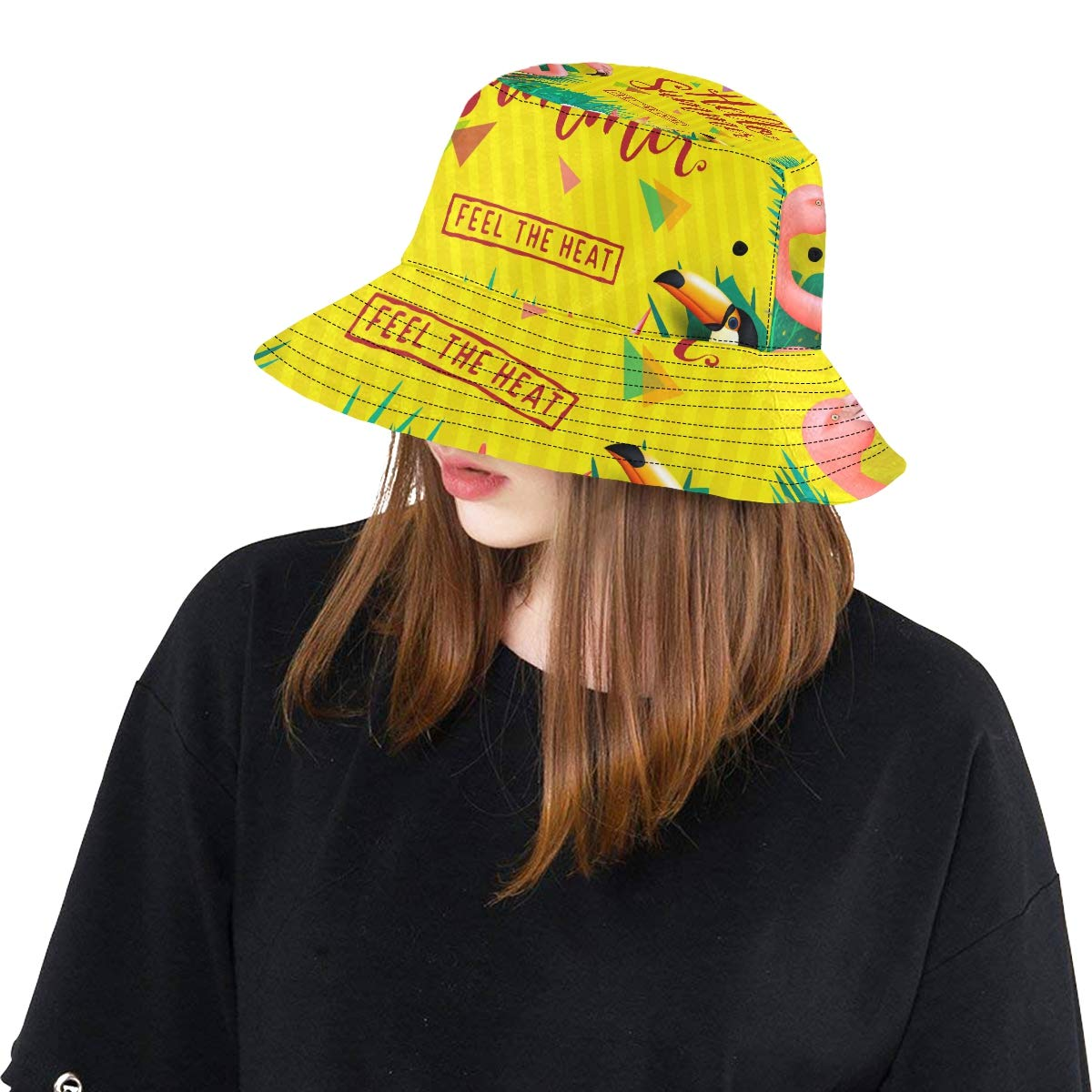 Seasonal Hot Cool Hello Summer New Summer Unisex Cotton Fashion Fishing Sun Bucket Hats for Kid Teens Women and Men with Customize Top Packable Fisherman Cap for Outdoor Travel