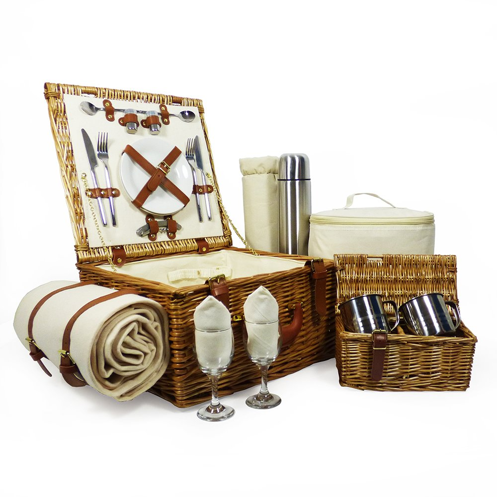 Luxury Quality Harpenden 2 Person Wicker Picnic Basket Set with Accessories - Gift Ideas for Fathers Day, Mom, him, her, Birthday, Wedding, Anniversary, Corporate, Business, Thank You, Dad, Family