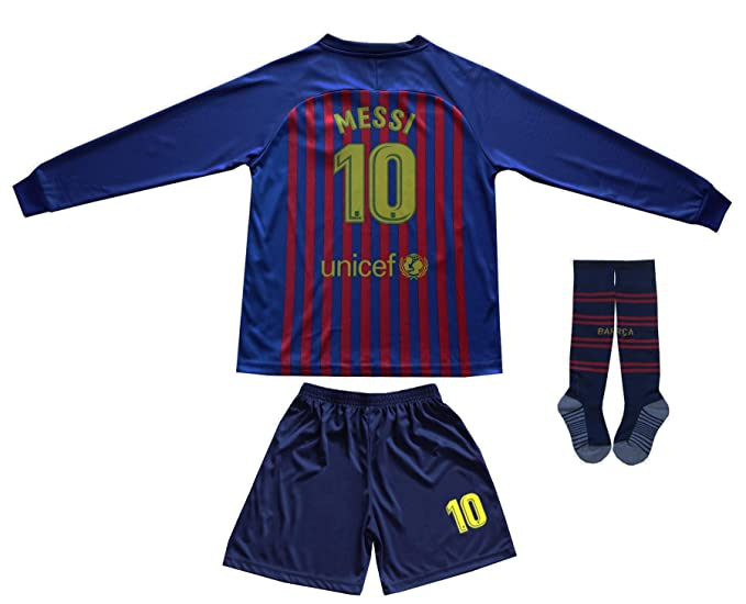 7fec000597c Amazon.com: Da Games Youth Sportswear Barcelona Messi 10 Kids Home Soccer  Long Sleeve Jersey/Shorts Football Socks Set (Home, 12-13 YEARS): Clothing
