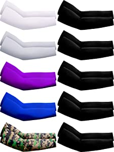 10 Pairs UV Protection Cooling Arm Sleeves Anti-Slip Sun Protection Arm Sleeves Ice Silk Arm Covers (White, Grey, Purple, Blue, Camo, Black)