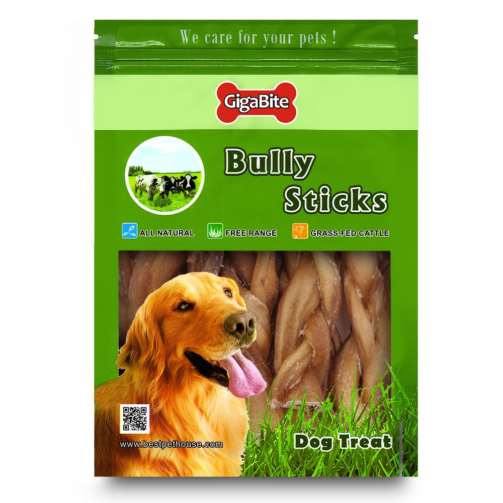 GigaBite 6 Inch Odor-Free Braided Bully Sticks (1-Pound) - USDA & FDA Certified All Natural, Free Range Beef Pizzle Dog Treat - by Best Pet Supplies by Best Pet Supplies, Inc. (Image #4)