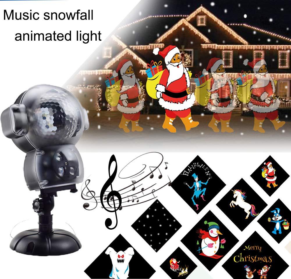 BASDT LED Anime Schneeflocke Projektor - 8 Animationseffekt/Musik Player/Schnee Falling Effect/Fernbedienung - Animierte Schneefall Projektor Licht fü r Halloween/Weihnachten
