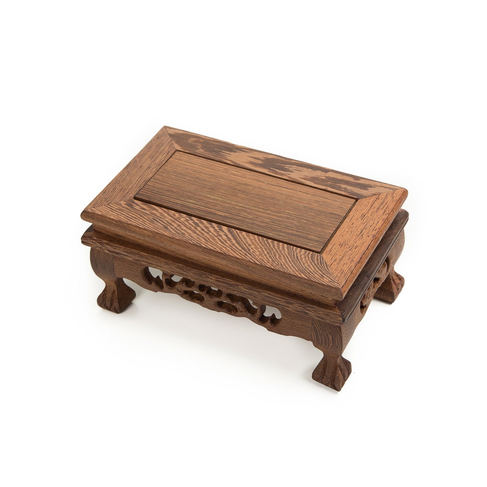 LuoLuo Chinese Display Stand Wooden Rectangle Shape Tiger Feet Carved Solid Rosewood JiChi Wood Display Base Holder For Arts Antique Etc, Home Decoration (S 18.5cm11cm9cm) by LuoLuo (Image #1)