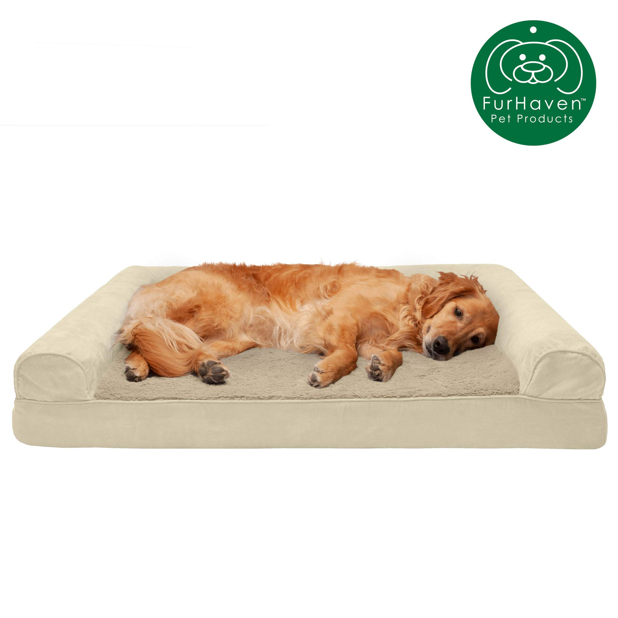 Furhaven Pet Dog Bed | Cooling Gel Memory Foam Ultra Plush Faux Fur & Suede Traditional Sofa-Style Living Room Couch Pet Bed w/ Removable Cover for Dogs & Cats, Clay, Jumbo by Furhaven