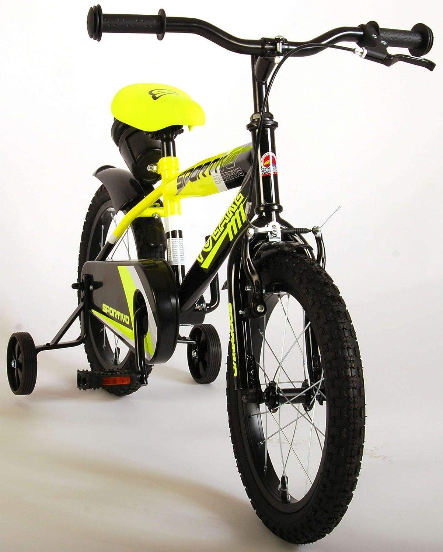 Kinderfahrrad Jungen Volare Sportivo 16 Zoll mit Vorradbremse am Lenker und R/ücktrittbremse St/ützr/äder Gelb 95/% Zusammengebaut