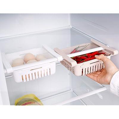 HapiLeap Frigoríficos Organizadores de Cajones - Caja de Almacenamiento del Refrigerador Mantenga el Refrigerador Ordenado Estante Soporte Contenedor de Alimentos Cestas (2 Pack)