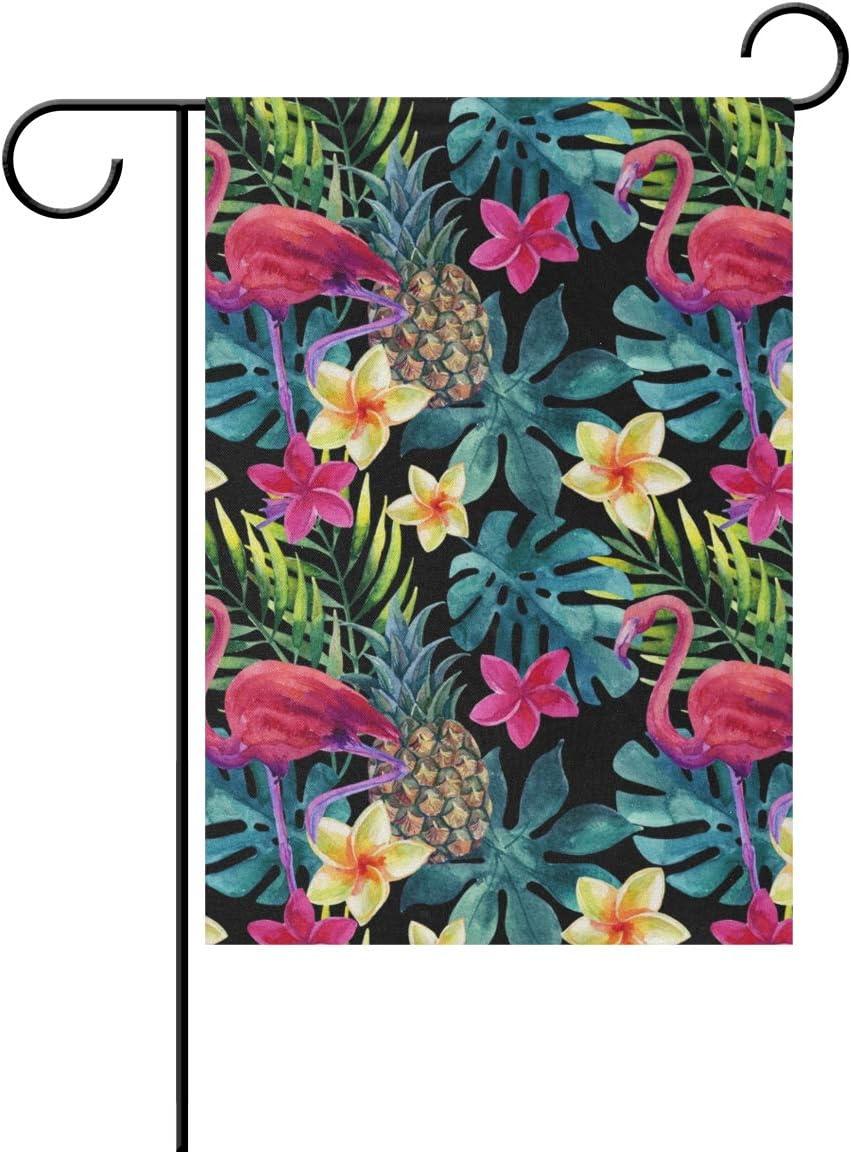 REFFW Pájaro Flamenco Piña Flor Tropical Hoja Bandera Carta de jardinería de Doble Cara para decoración de césped al Aire Libre Jardín Bandera Inicio