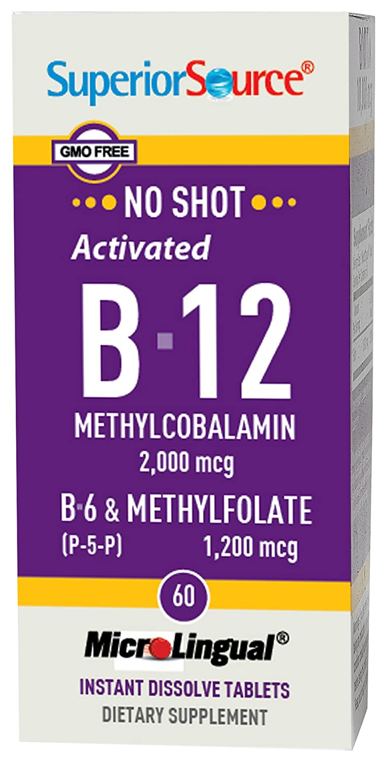 Superior Source No Shot Methylfolate B12 2000mcg P-5-P Tablets, 60 Count