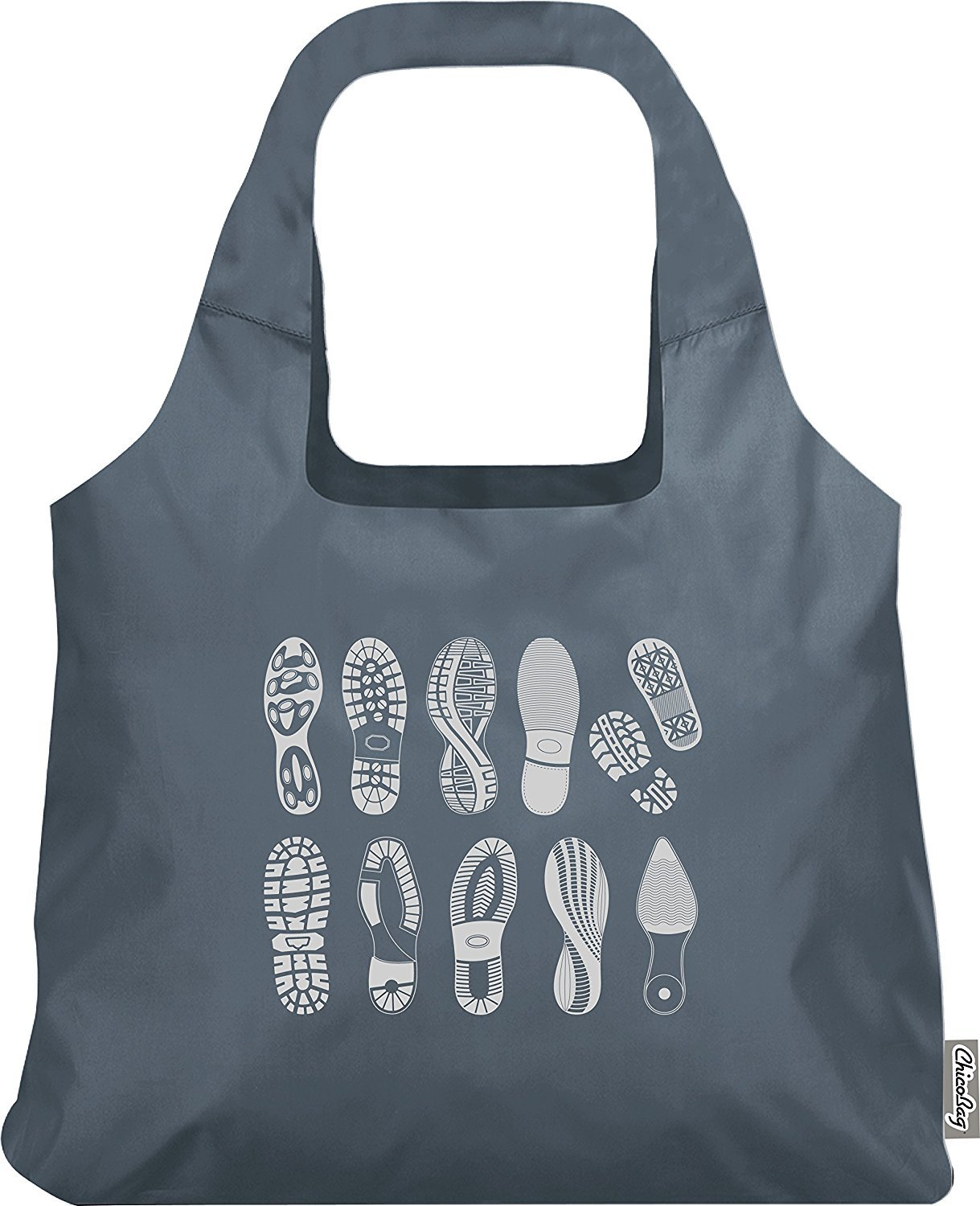 Special Edition Footprint ChicoBag - Earth-Friendly, Reusable and Collapsable Tote Perfect for Shopping, Travel and Throwing in a Bag or Purse by ChicoBag B00XWH0SPK Abyss (Grey)