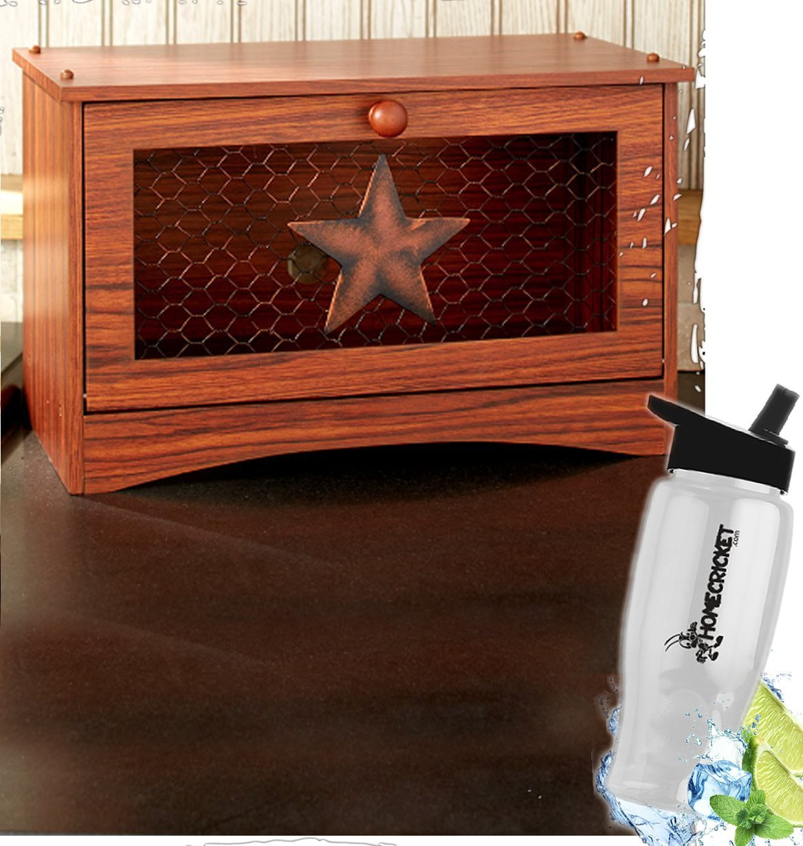 Gift Included- Farmhouse Country Kitchen Star Rustic Countertop Essentials + FREE Bonus Water Bottle by Homecricket (Bread Box)