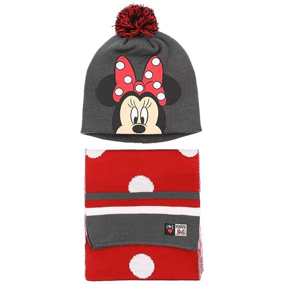 Chapeaushop Bonnet   Echarpe Minnie Mouse pour Enfant Echarpe (Taille  Unique - Gris-Rouge d440cf65ca1