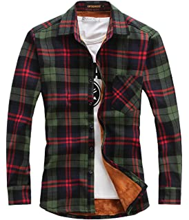 2eed5b2a2539 chouyatou Men's Casual Long Sleeve Fleece Lined Plaid Flannel Buttoned  Overshirts Jacket
