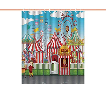 IPrint No Chemical Odor Shower Curtain Circus DecorCarnival With Many Rides And Shops