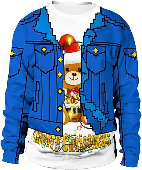WFTD Unisex con Capucha Navidad, 3D Pareja Impreso suéter de Cuello Redondo FEA Camiseta de Navidad Falso Camisa de Manga Larga Patrón Camiseta: Amazon.es: Deportes y aire libre