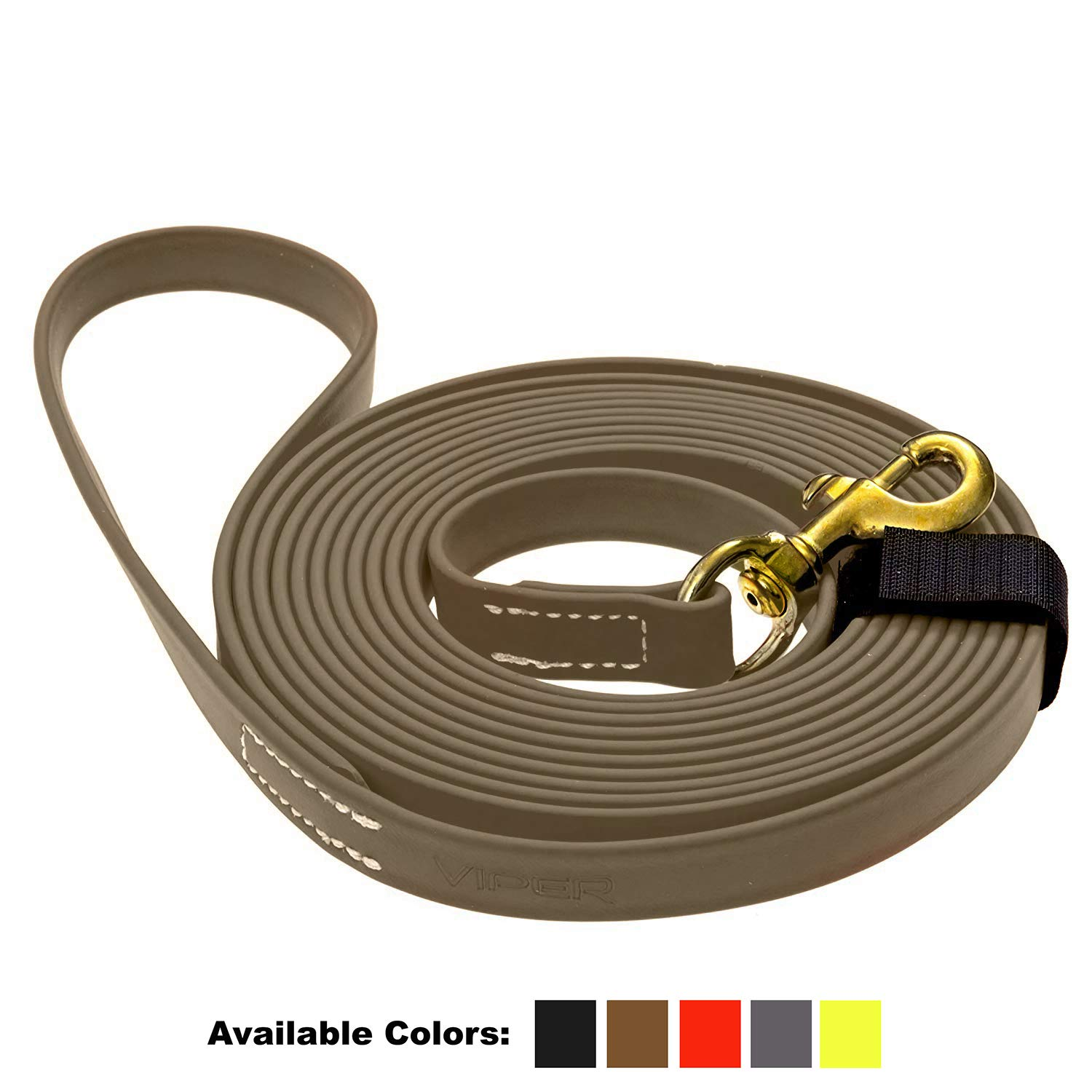 Viper Biothane K9 Working Dog Leash Waterproof Lead for Tracking Training Schutzhund Odor-Proof Long Line with Solid Brass Snap for Puppy Medium and Large Dogs 0.75 in Wide by 33 ft Long Coyote Brown by Viper