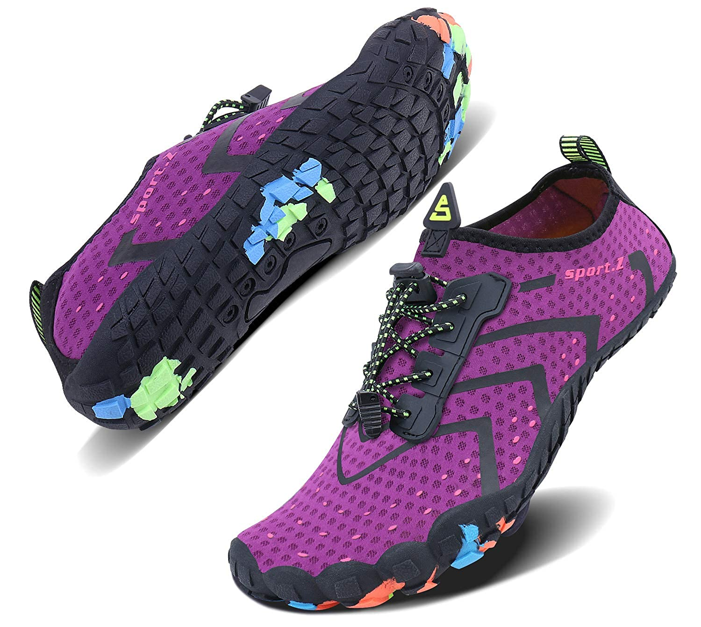 Purple_3 Wonesion Mens Womens Water Sport shoes Quick Dry Aqua Socks Barefoot Outdoor Beach Swim Surf Pool Yoga shoes