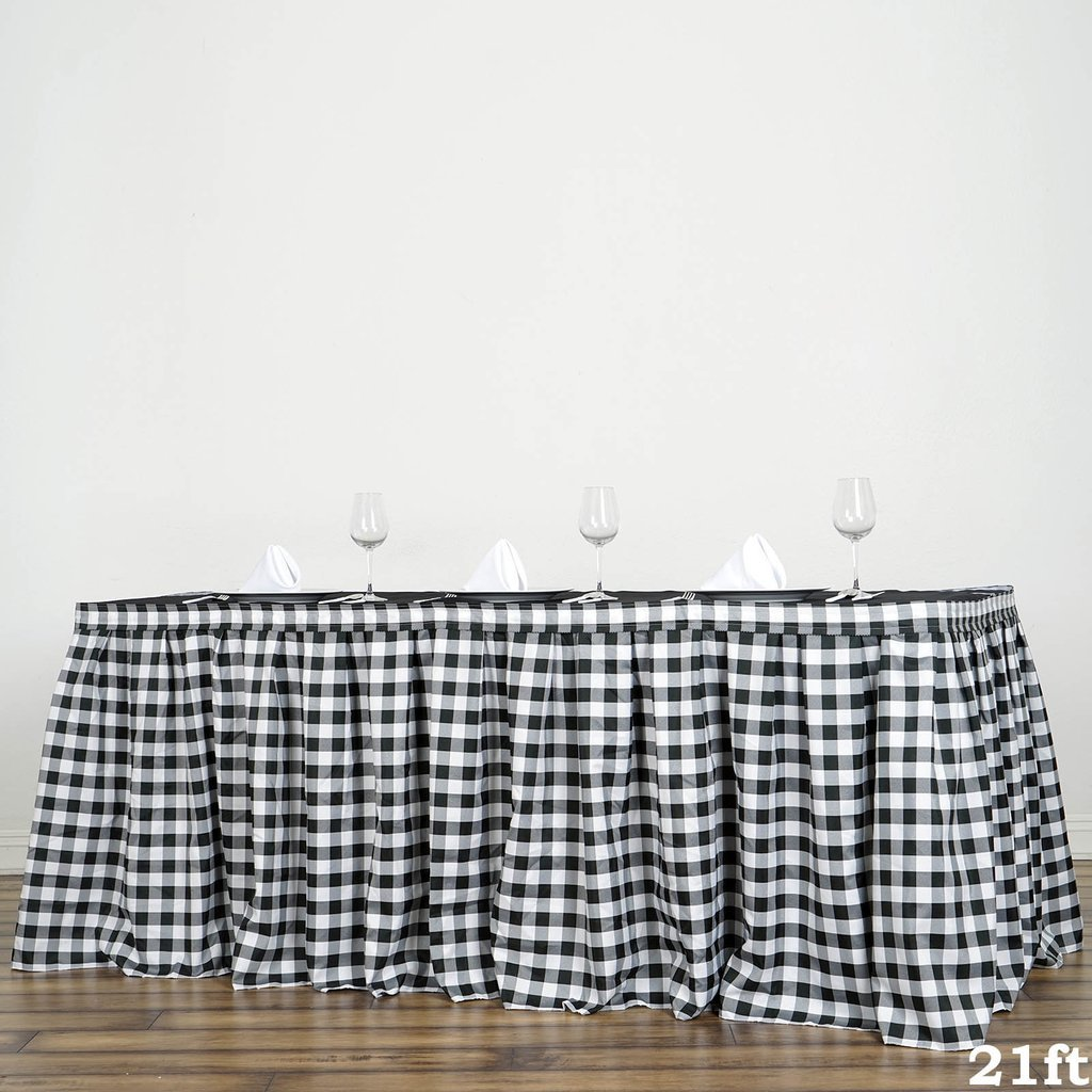 BalsaCircle 21 feet x 29-Inch Black on White Checkered Gingham Polyester Table Skirt Linens Wedding Party Events Decorations Dining by BalsaCircle