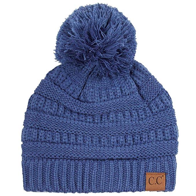 2663a549d76ded ScarvesMe C.C Exclusive Soft Stretch Cable Knit Faux Fur Pom Pom Beanie Hat  (A Knit