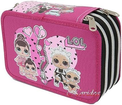 Estuche escolar Lol Surprise de 3 cremalleras completo y rosa 20 x 13 x 6,5 cm: Amazon.es: Oficina y papelería