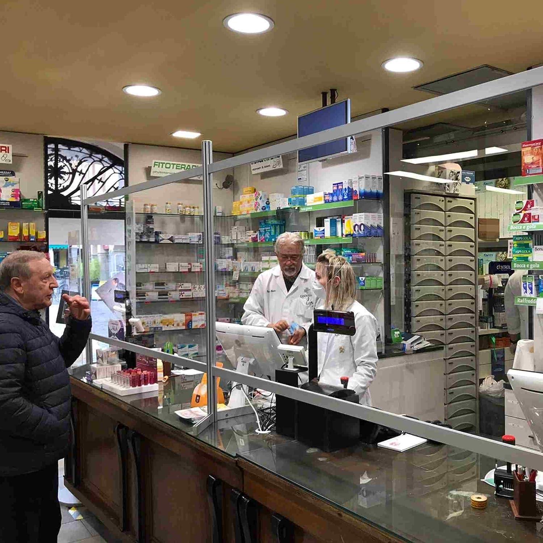 Negozi SIR Visual Parete Divisoria Protettiva Temporanea Parafiato e Parasputi per Banconi e Reception Farmacie 50 x 80H cm Uffici