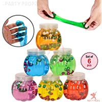 Party Propz 6pcs Beautiful Multicolor Pearl Crystal Sequin Slime Mud Putty Scented Stress Relief Kids Clay Toy Kids Gifts