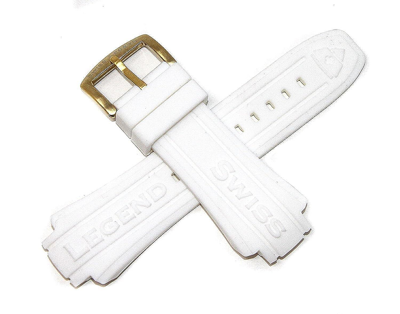 スイス凡例19 mmホワイトシリコンゴム腕時計ストラップ&ゴールドステンレスバックルフィット53 mm Neptune Watch  B07CXBL43S