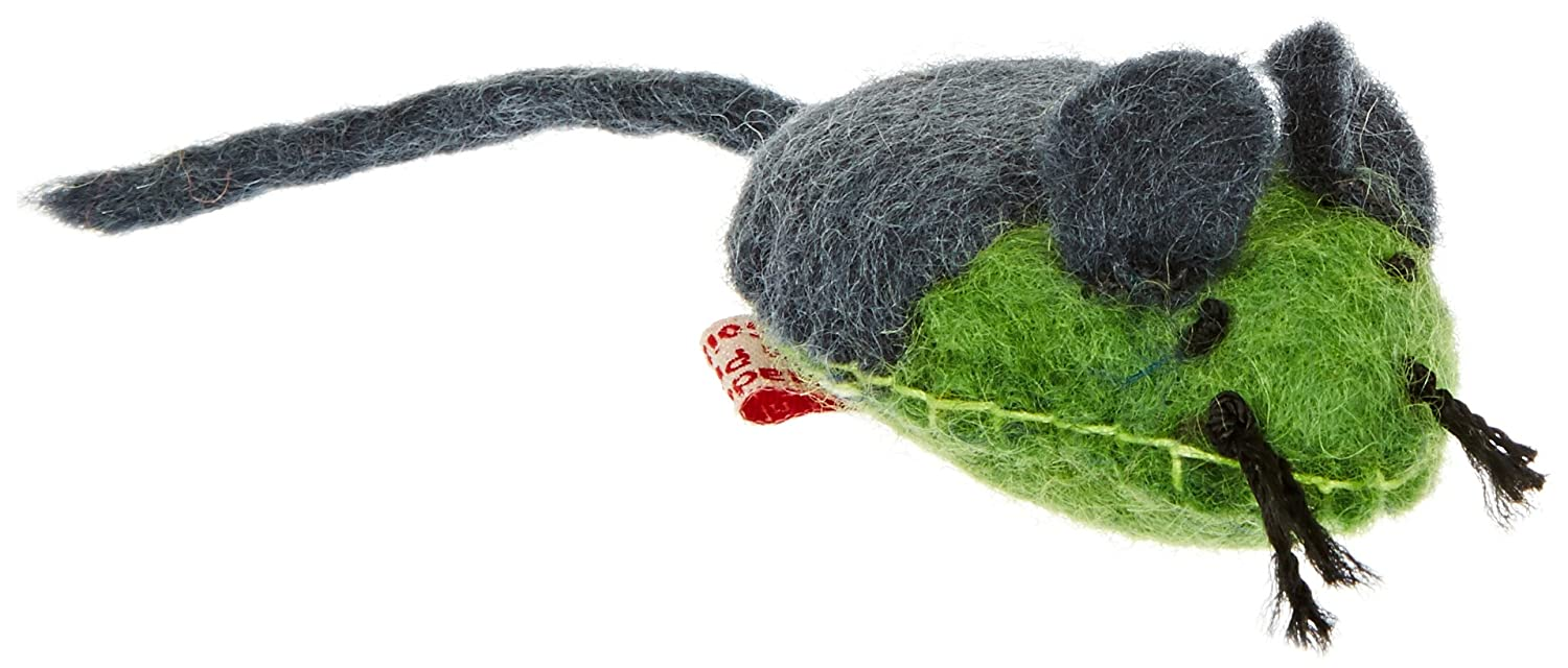One Pet Planet Wooly Fun Stitched Mouse Toy