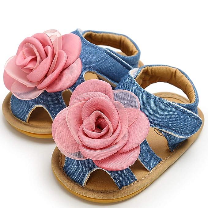 Berimaterry Sandalias con Punta Cerrada Niña Verano Zapato con Velcro Niños Zapatos de Playa con Flores