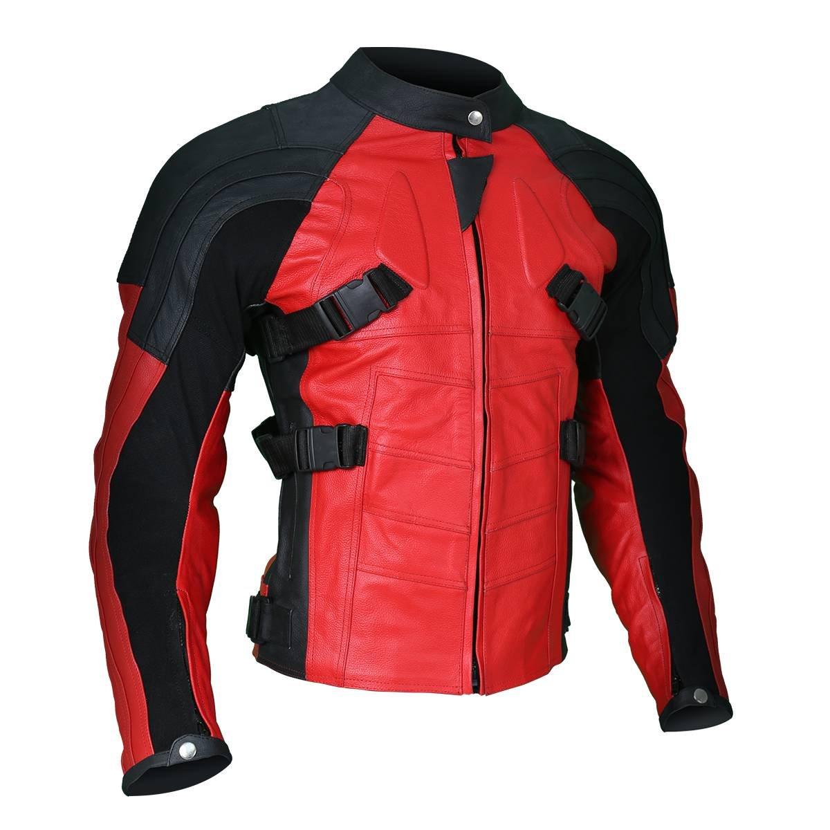 Men's Deadpool Wade Wilson Motorcycle Ryan Reynolds Biker Red Leather Jacket (XX-Small, Non-Armored)