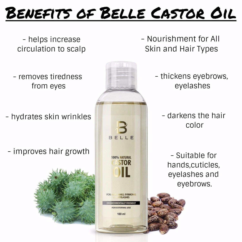 Belle® 100% natural aceite de ricino prensado en frío - Reconstruye el estructura del cabello, Añadir suavidad y brillante para It - apto para manos, ...