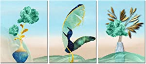 HOOHAA Tropical Plants Canvas Painting for Bathroom Decor 3 Panel Teal Green Floral Wall Art Prints Pictures Home Decor Dinning Room Each Panel 12x16inch