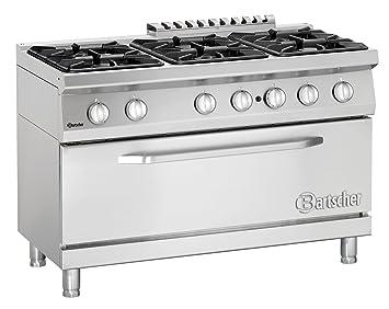 cucina a gas con 6 fuochi e forno maxi 120x70x85 bartscher 2852261