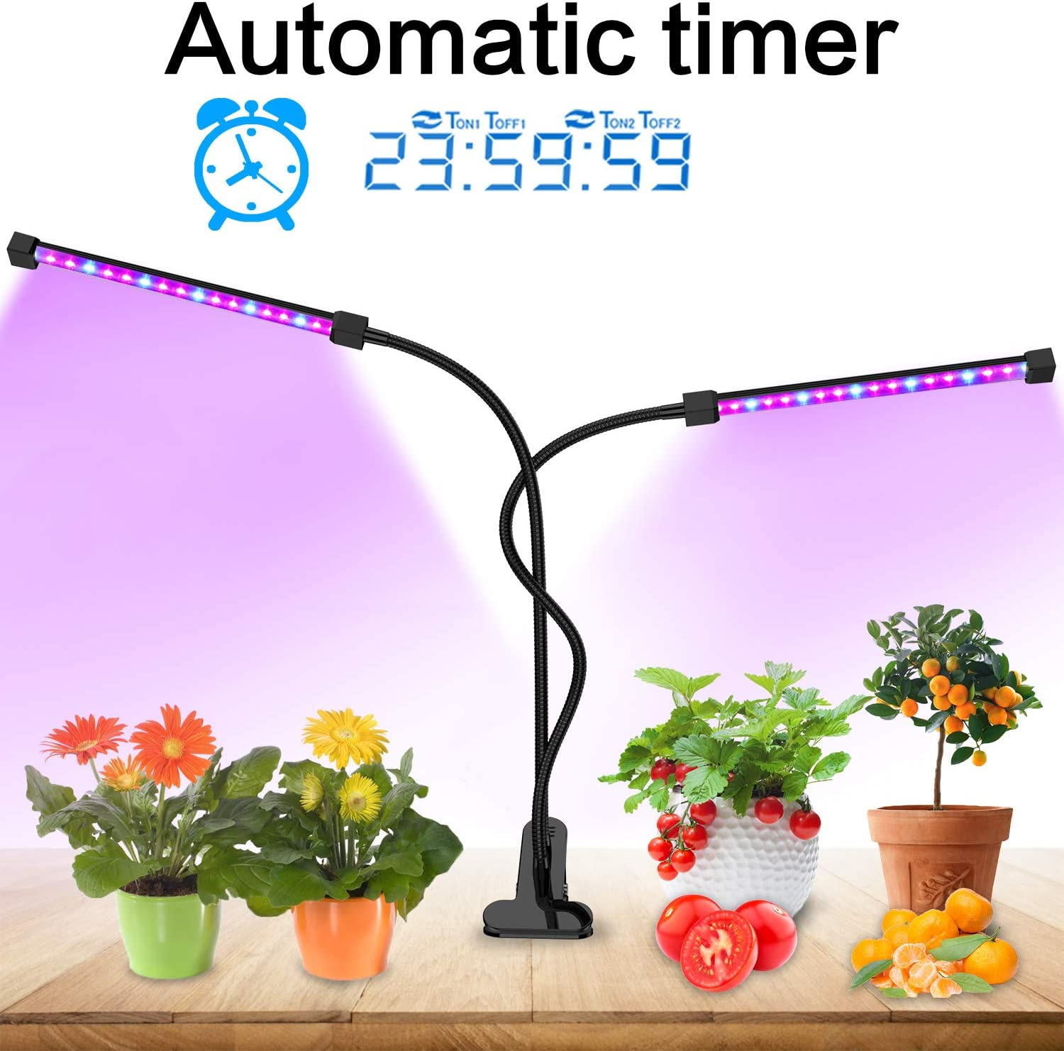 Lovebay Grow Light Auto Turn on Off 40 LED Dual Head Plant Grow Light with Red Blue Spectrum, Adjustable Gooseneck, 5 Dimmable Levels, for Indoor Plants Hydroponics Greenhouse