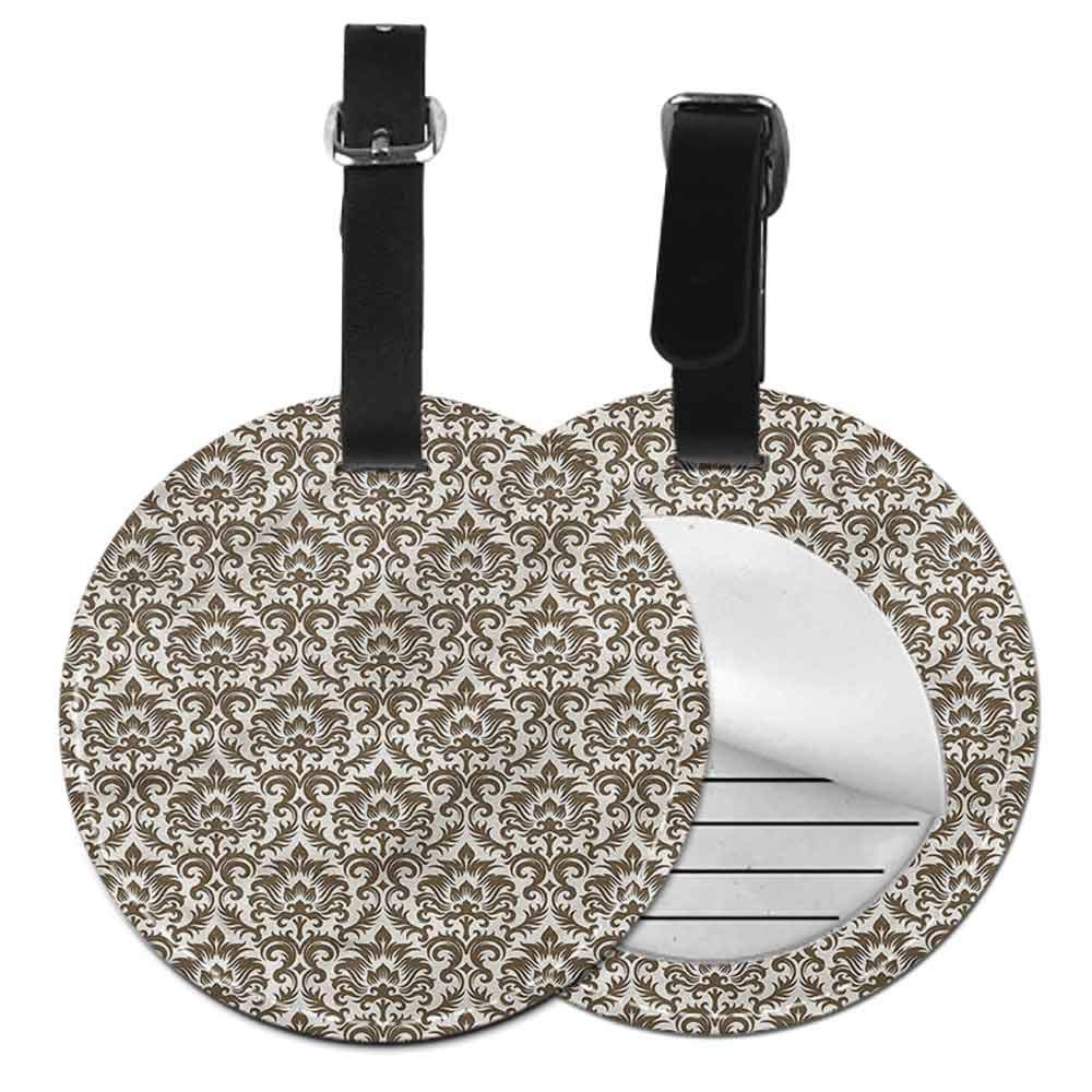 Creative Luggage Tag Damask,Baroque Pattern Ombre Shade Id Tag Suitcase Carry