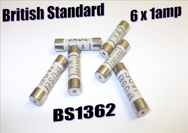 Pack 6 1 amp Household Cartridge fuse mains plug BS1362 British Standard