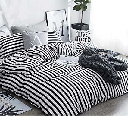 Amazon Com Karever Black And White Striped Bedding Set Twin Size