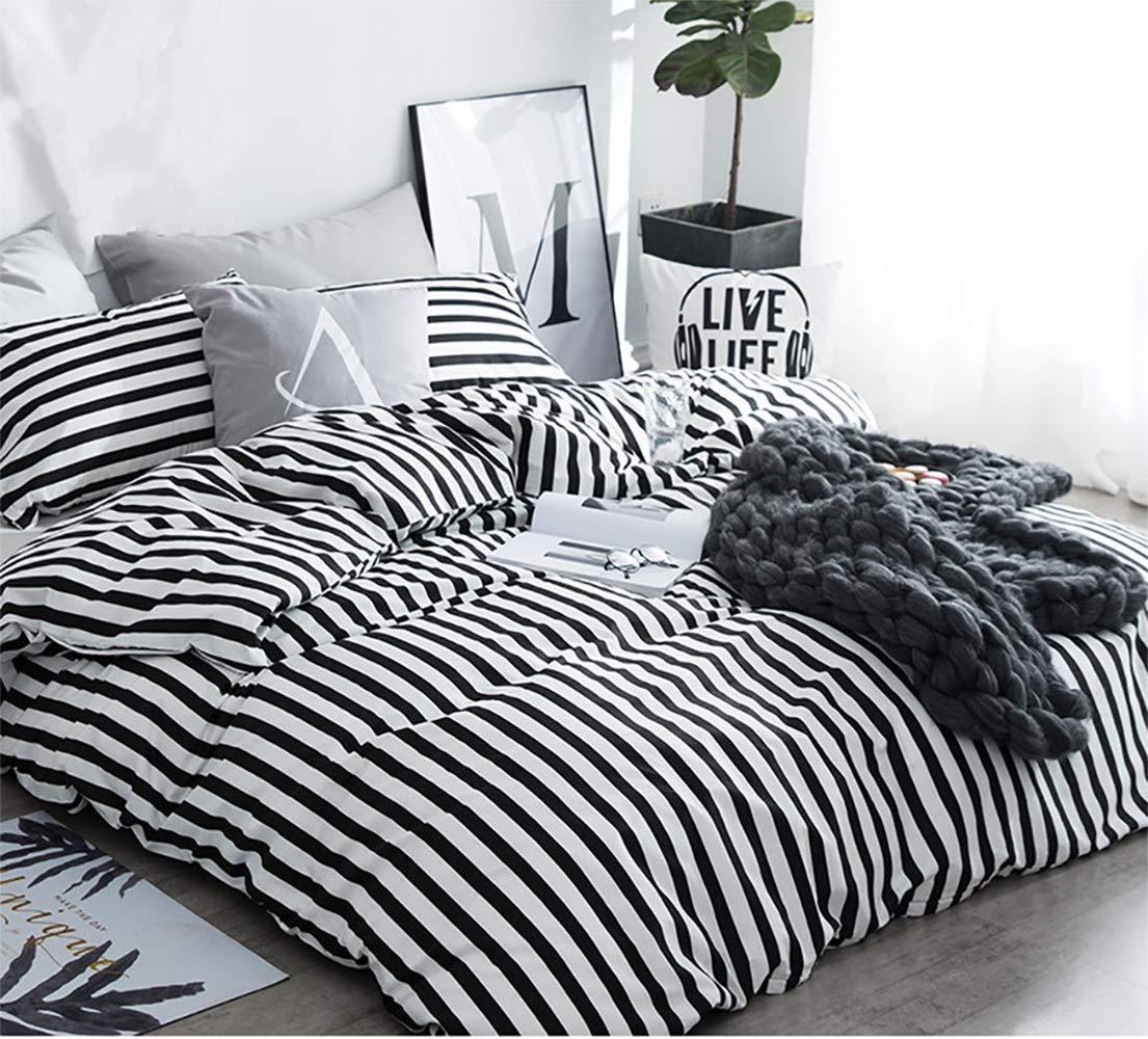 karever Black White Striped Duvet Cover Queen Vertical Ticking Stripe Bedding Full 3 PCs Cotton Comforter Cover Set for Boys Girls by karever (Image #3)