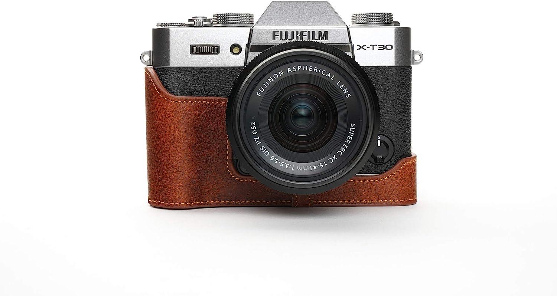 Hand Strap X-T30 Camera Case Black BolinUS Handmade Genuine Real Leather Half Camera Case Bag Cover for Fujifilm Fuji X-T30 XT30 X-T20 XT20 X-T10 XT10 Camera Bottom Opening Version