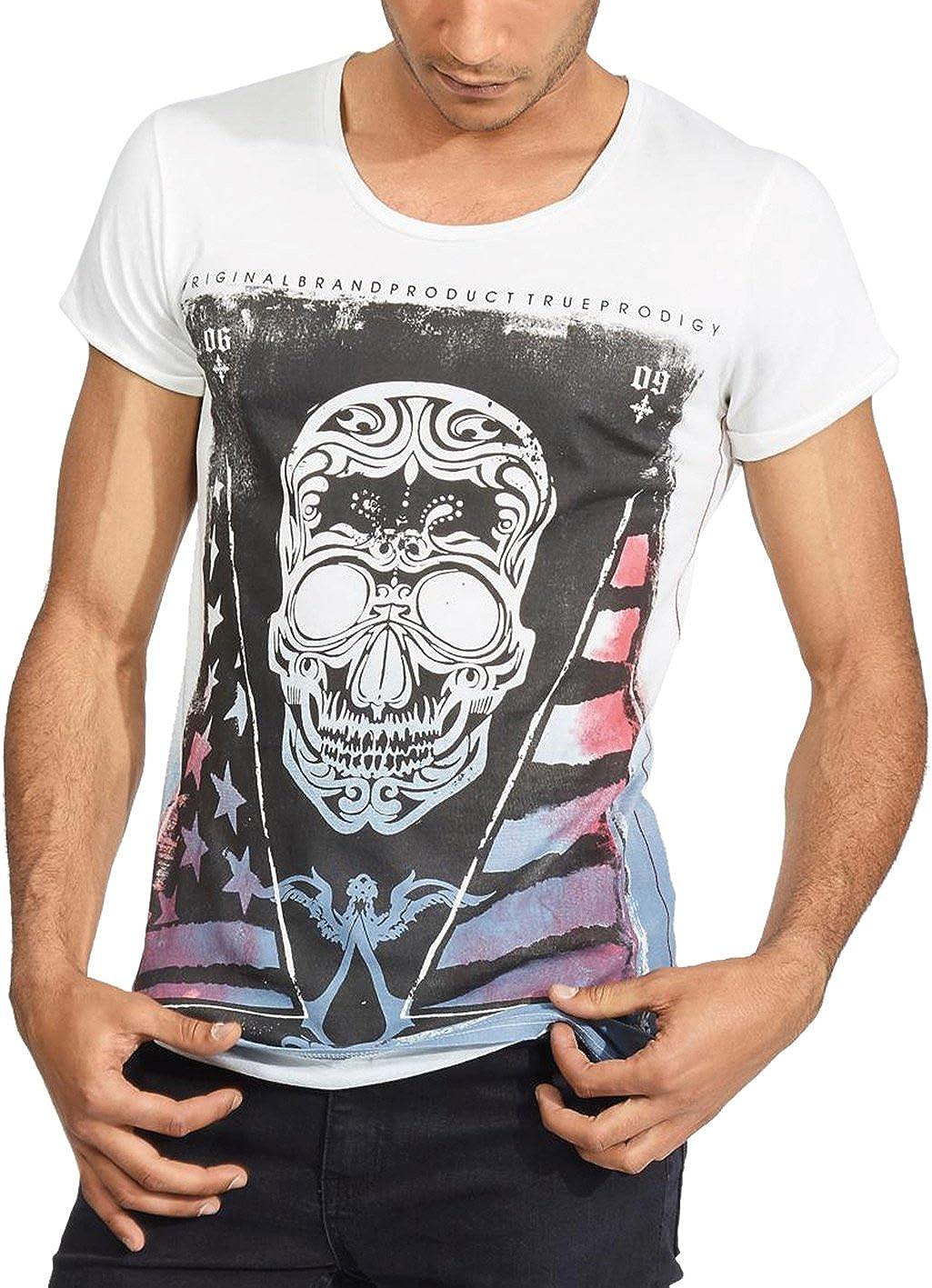 trueprodigy Casual Marca Camiseta para Hombre con impresión Estampada Ropa Retro Vintage Rock Vestir Moda Cuello Redondo Manga Corta Slim fit Designer Fashion t-Shirt: Amazon.es: Ropa y accesorios