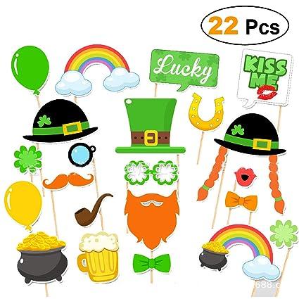 Amazon.com  St. Patrick s Day Photo Booth Props 22pcs- Shamrock ... 23f067c8b6