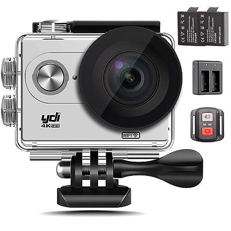YDI Cámara Deportiva 4K WiFi Ultra HD Cámara de Acción Acuatica Videocámara Impermeable con Pantalla LCD 2.0, Gran Angular 170°, Control Remoto, ...