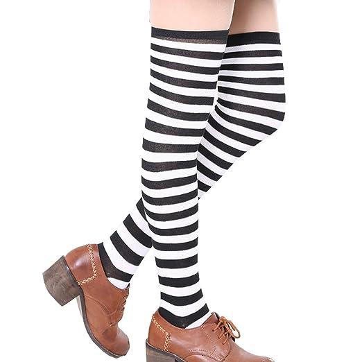 5497e8d7e06 ONEFIT Striped Thigh High Socks Over Knee Girls Halloween Cosplay (Black  white)