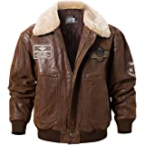FLAVOR Men's Real Leather Bomber Jacket with Removable Fur Collar Aviator