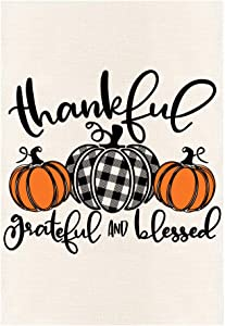 MONORD Thankful Grateful Blessed Pumpkin Buffalo Plaid Vertical Garden Flag Double Sided, Fall Thanksgiving Pumpkins Yard Outdoor Decor 12.5 x 18 Inch