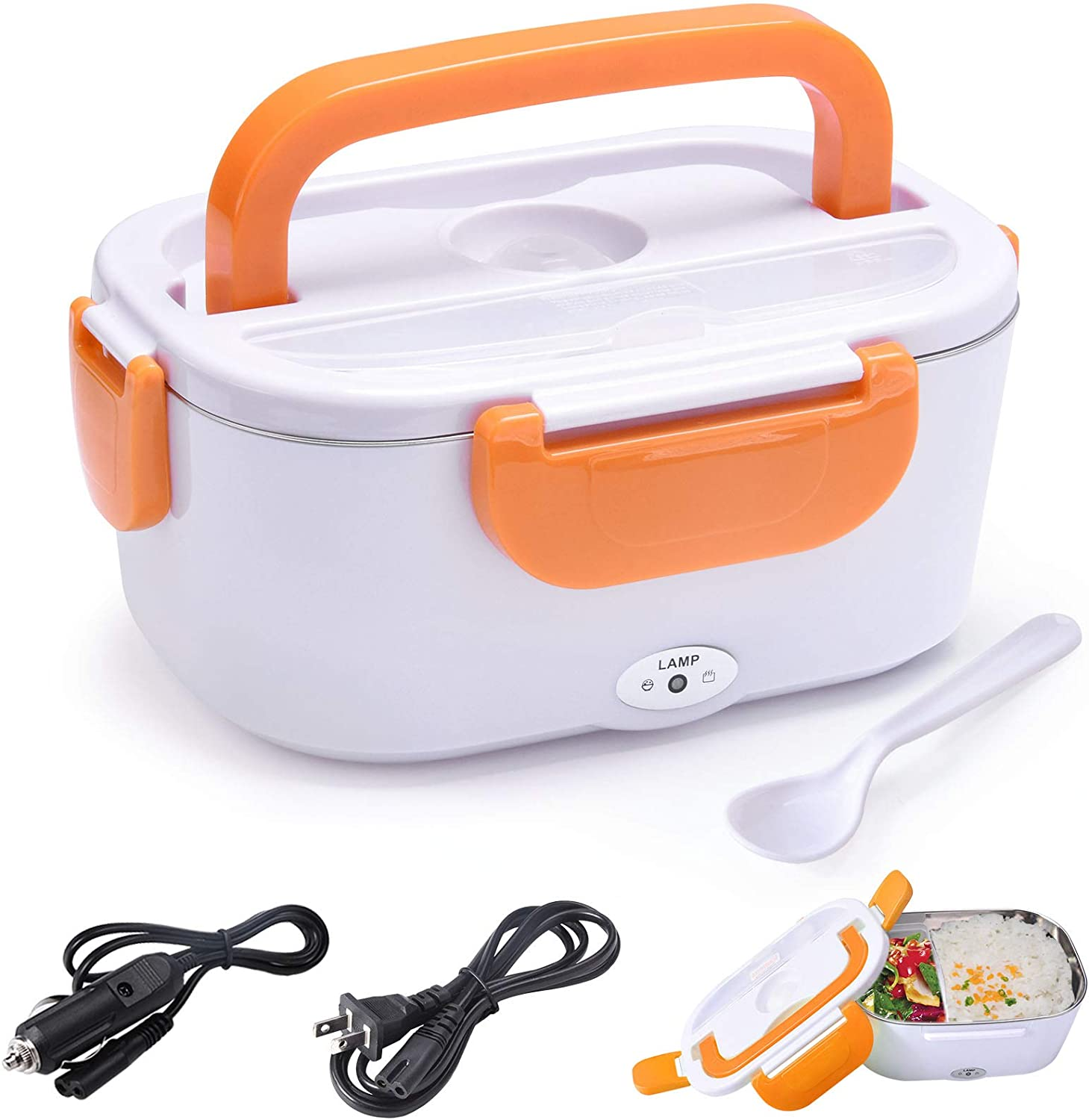Electric Lunch Box Food Heater Warmer 2 in 1 for Home Office 110V and Car Truck 12V 40W Use Include 1.5L Removable Stainless Steel Container Spoon and 2 Compartments(Orange)