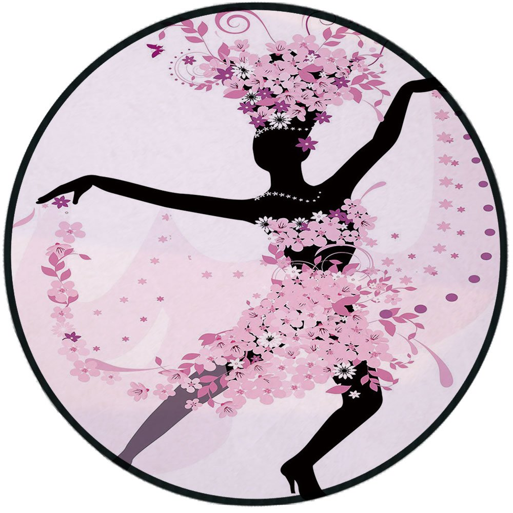 Printing Round Rug,Latin,Silhouette of a Woman Dancing Samba Salsa Latin Dances Spain and Mexico Culture Print Decorative Mat Non-Slip Soft Entrance Mat Door Floor Rug Area Rug For Chair Living Room,P