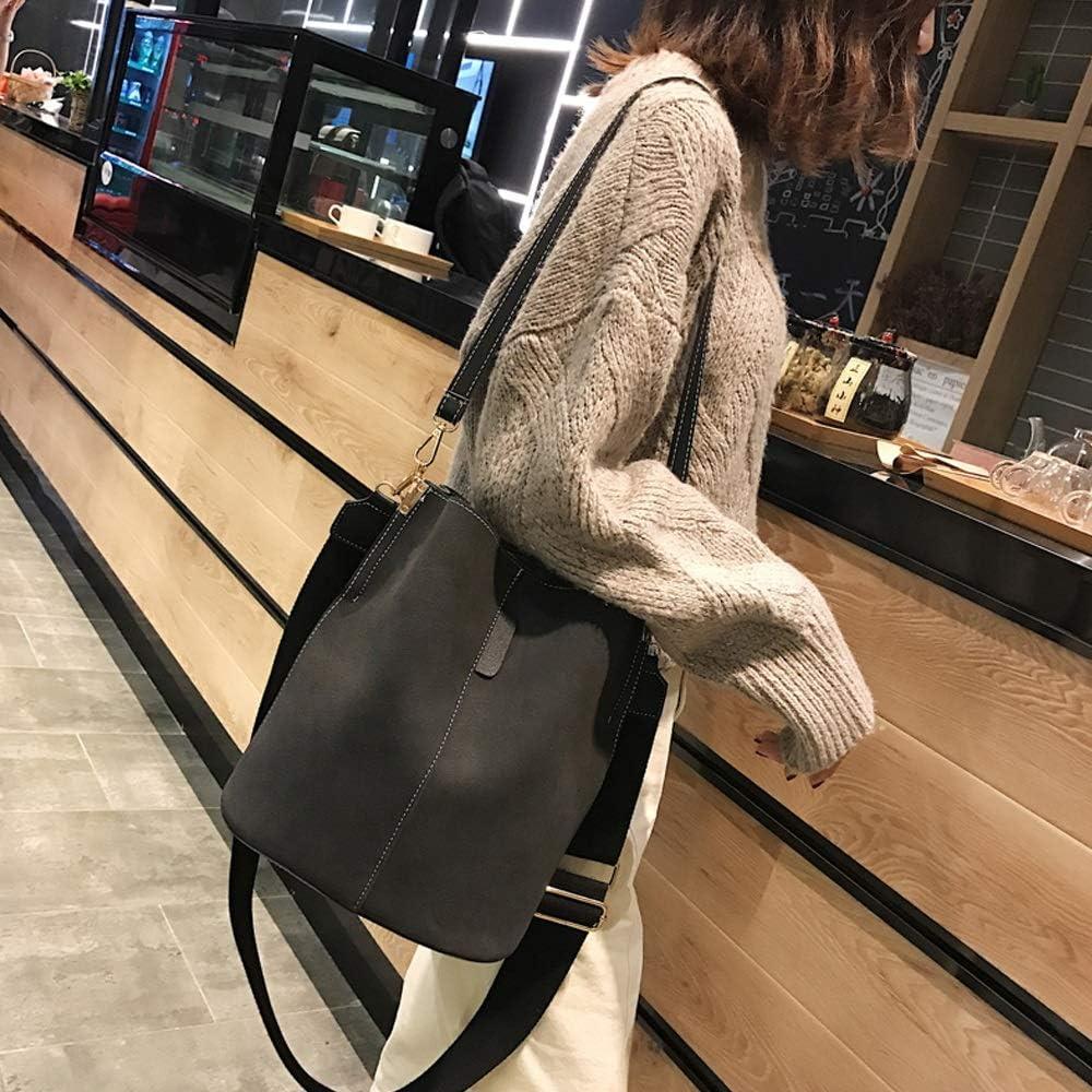 Teng Peng Womens Simple and Stylish Texture Bucket Bag Retro Broadband Messenger Bag Four Colors Optional Handbag Messenger Bag Color : D